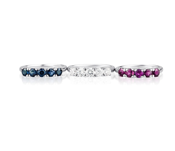 14K White Gold Ruby, Sapphire, & Diamond Ring Set