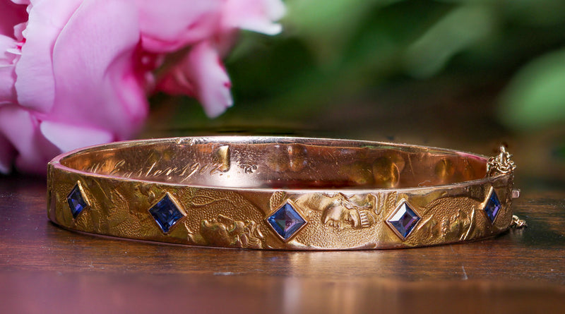 1907 Day Clark & Co. Yogo Gulch Montana Sapphire Roman Coin Bangle