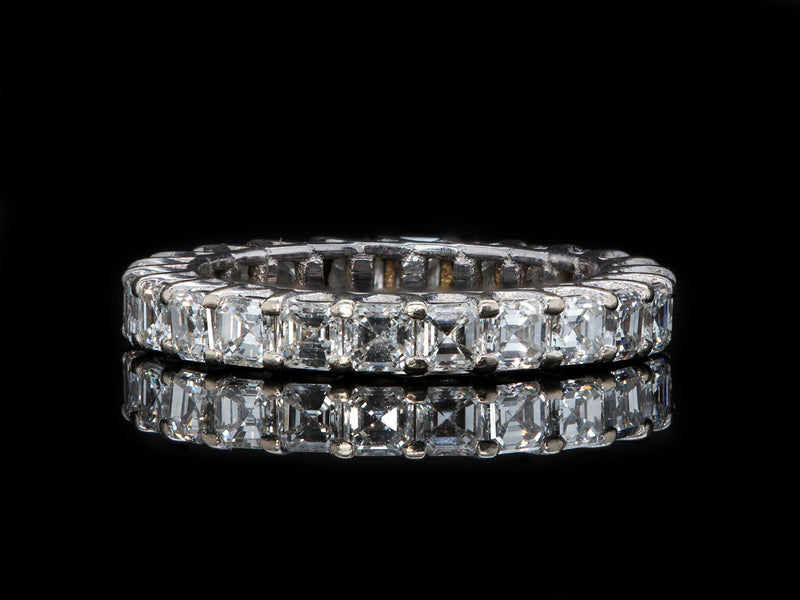14K White Gold 2.75 CTTW Asscher Cut Diamond Eternity Ring