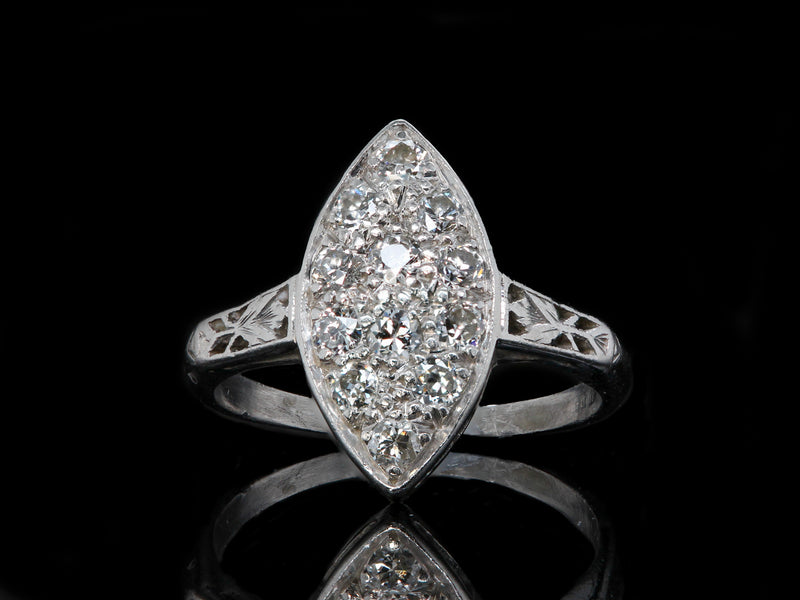 Art Deco Navette Diamond Ring
