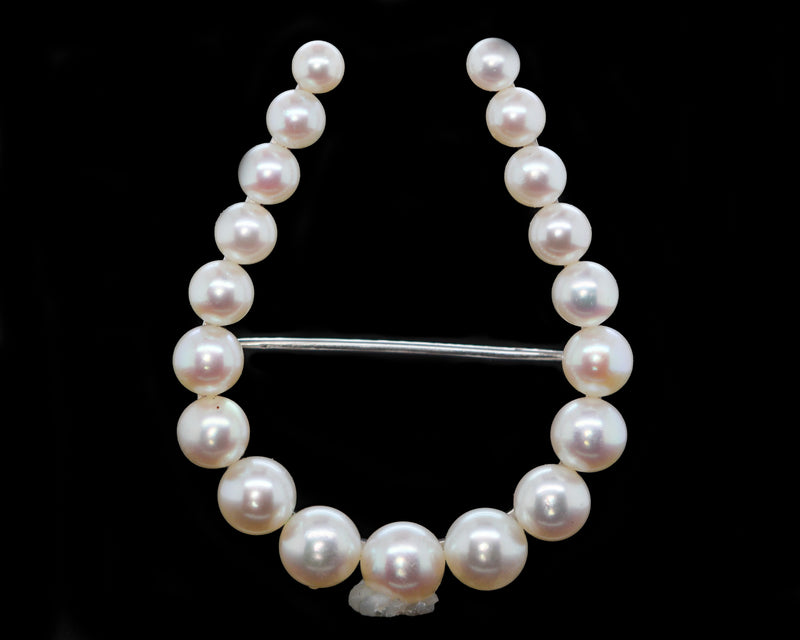 Vintage Cultured Pearl Horseshoe Brooch