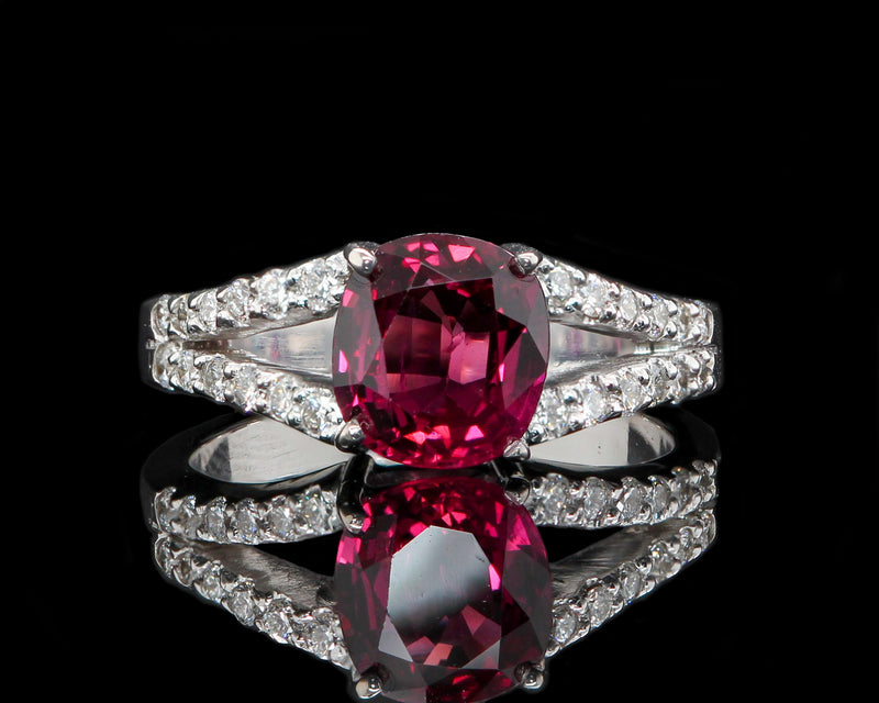 14K White Gold 1.76 Carat Oval Ruby Diamond Ring