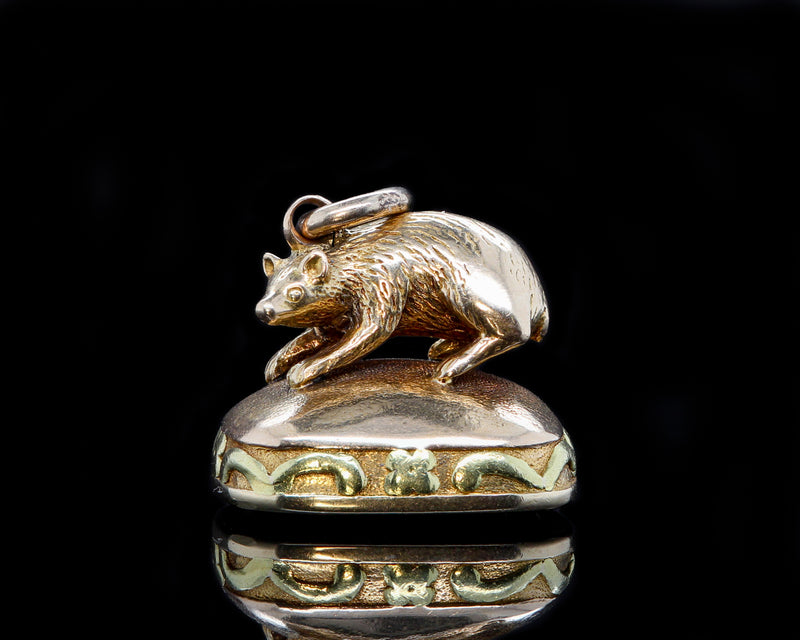 14K Yellow & Green Gold Victorian Agate Vole Watch Fob Pendant