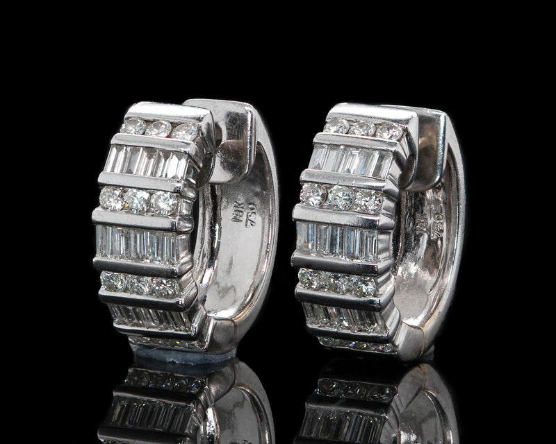 18K White Gold 1.5 Carat Baguette & Round Diamond Huggie Hoops