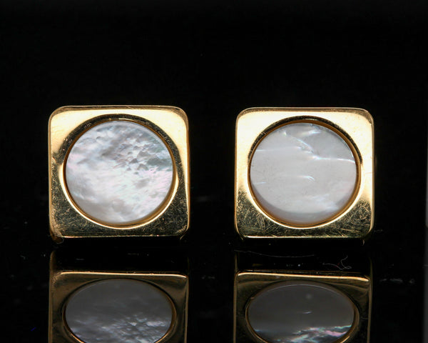 Italian 18K Yellow Gold Mother of Pearl Cufflinks