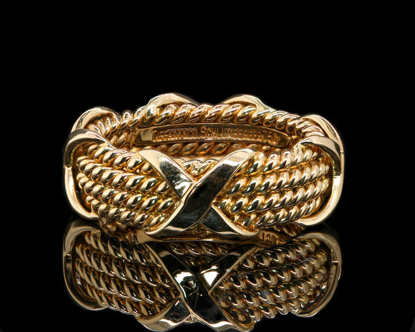 18K Yellow Gold Tiffany & Co. Schlumberger Rope Four Row X Ring