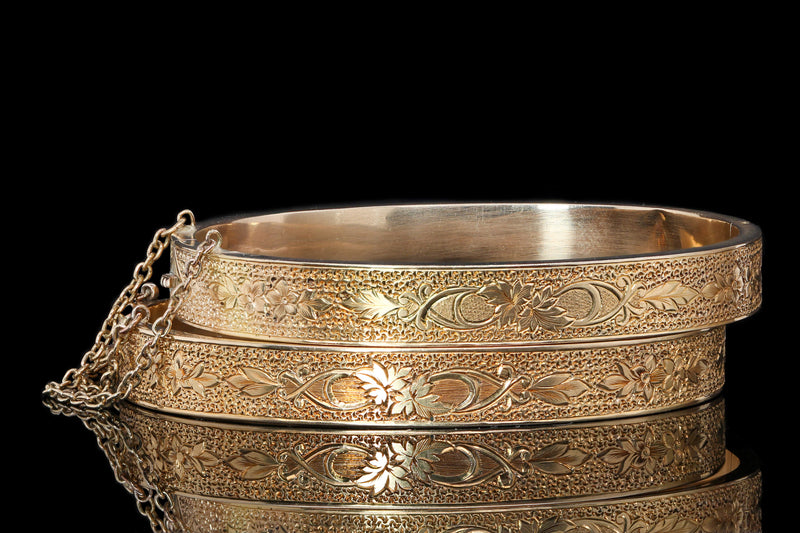 Yellow Gold Victorian Engraved Bangle