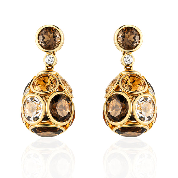 Fabergé 18K Yellow Gold Citrine & Diamond Egg Earrings
