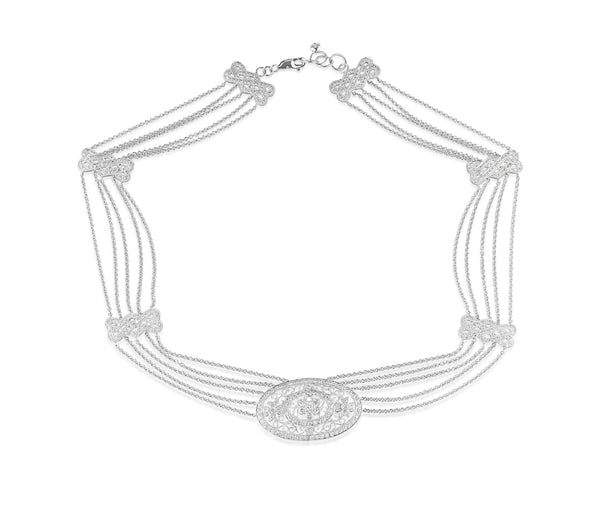 18K White Gold Edwardian Inspired Diamond Choker Necklace