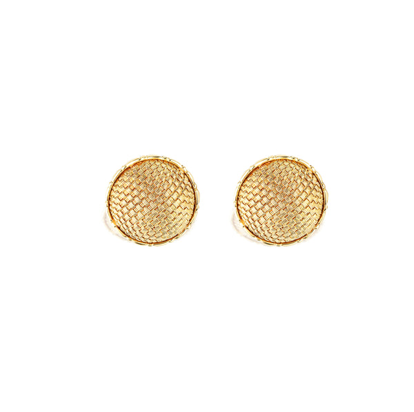 18K Yellow Gold John Hardy Basket Weave Clip On Earrings
