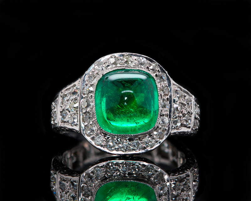 Platinum Art Deco Colombian Cabochon Emerald Ring