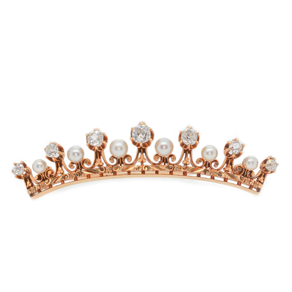 Victorian Natural Pearl & Diamond Crown Brooch - Austin Jewelry & Diamond Buyers