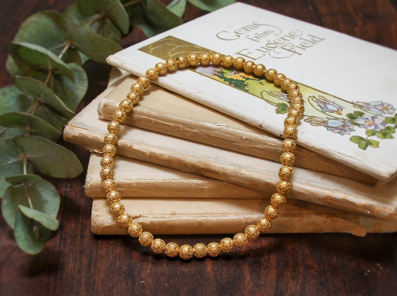 Victorian Etruscan Revival 14K Applied Yellow Gold Bead Necklace