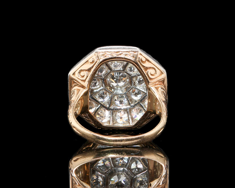 Antique Edwardian Platinum & Yellow Gold Engraved Diamond Ring