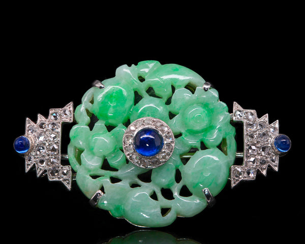 1920s Art Deco Cartier Carved Jade Sapphire Rose Cut Diamond Platinum Brooch