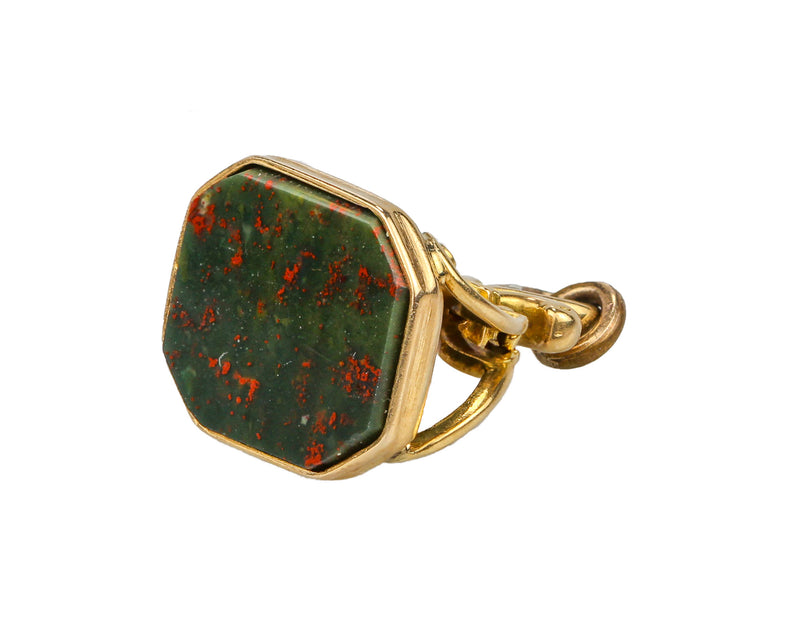 14K Yellow Gold Victorian Bloodstone Watch Fob