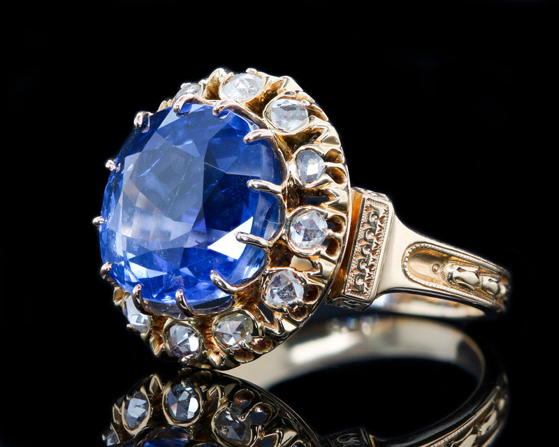 Victorian Untreated 10.73 ct Burma Sapphire & Rose Cut Diamond Ring