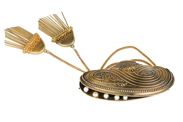 14K Yellow Gold George L Paine Mussel Brooch