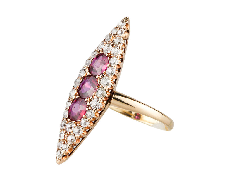 Victorian 14K Gold Natural Ruby & Diamond Navette Ring