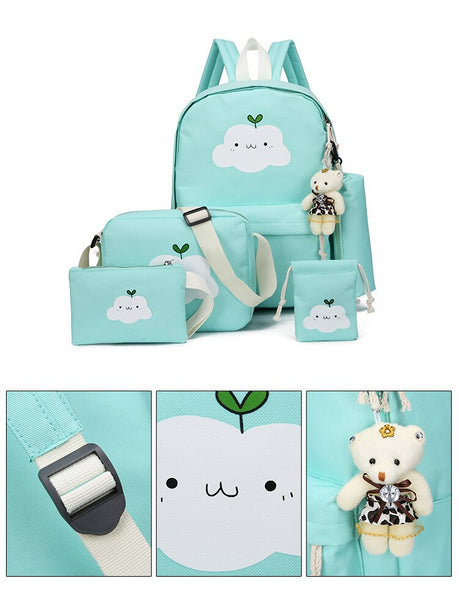 Cloud School Backpack Set With Drawstring Pouch Zipped Pencil Bag Cross-Body