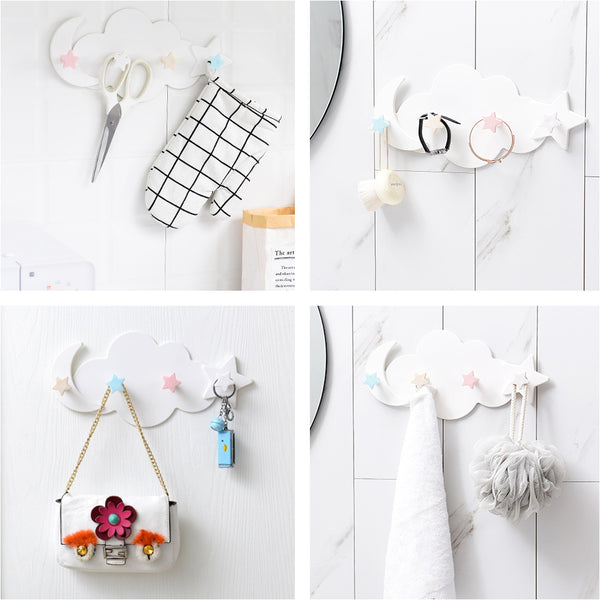 Dreamy Cloud Wall Rack Hanger With 4 Hooks