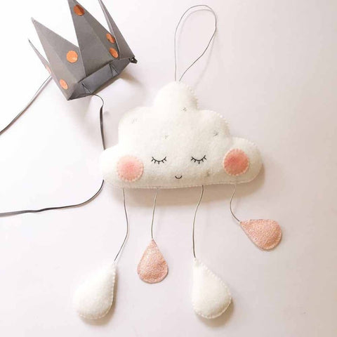 Handmade Hanging Felt Sleeping Rain Cloud
