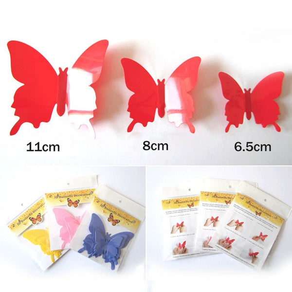 size chart for red plastic 3D decal butterflies in 11cm, 8cm, and 6.5cm