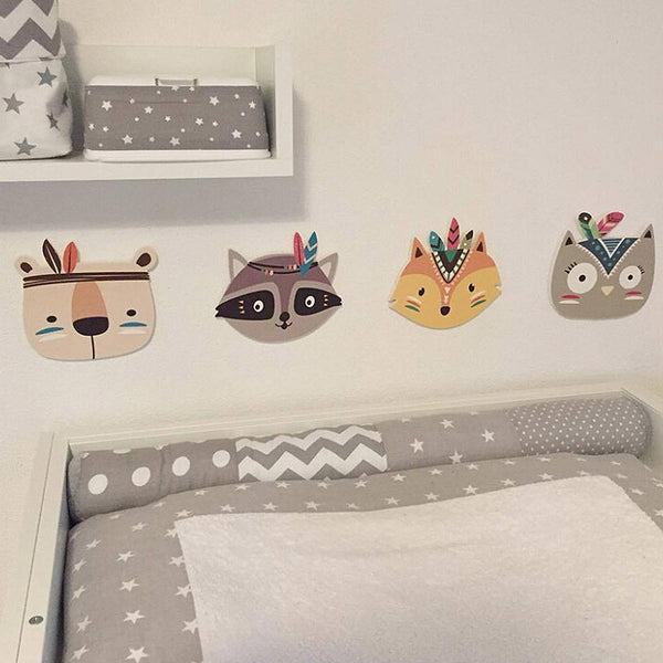 Wooden Boho Tribal Animal Wall Decal Decor