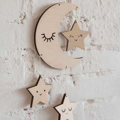 Sleepy Hanging Wooden Cloud Moon & Star with Eyelashes
