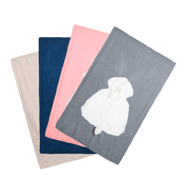 grey, navy blue, pink, and beige baby blankets each with 1 white woven bunny rabbit shape, 3D ears, and 3D tail