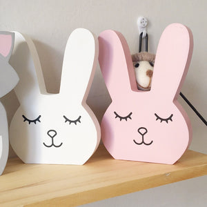 Handmade Wood Sleepy Bunny Figurine