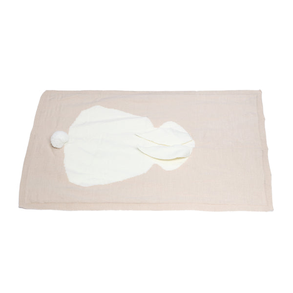 beige tan baby blanket with white woven bunny rabbit shape, 3D ears, and a 3D tail on a white background