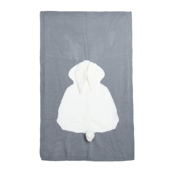 grey baby blanket with white woven bunny rabbit shape, 3D ears, and a 3D tail on a white background