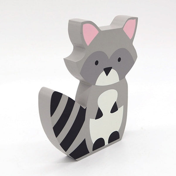 Handmade Wood Raccoon Figurine