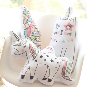 Unicorn Cat Ice Cream Decorative Pillow