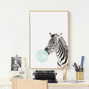 Bubble Gum Zebra Canvas Art Print