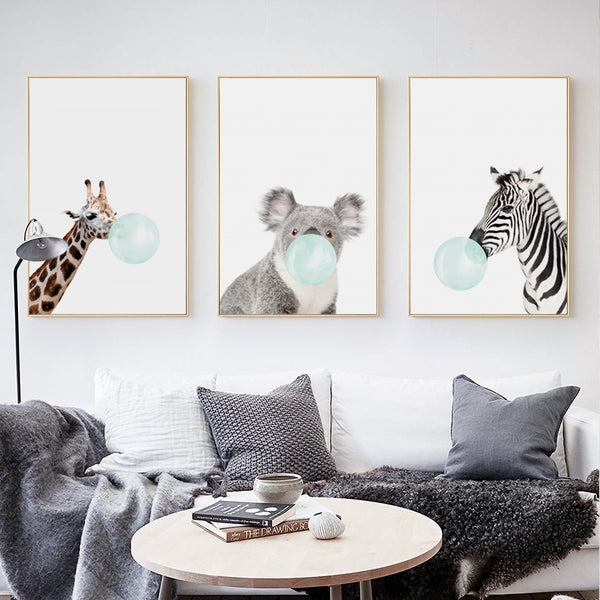 Bubble Gum Giraffe Canvas Art Print