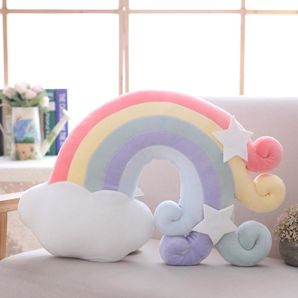 Candy Colored Rainbow Moon Star Pillows