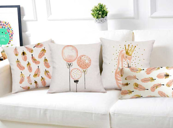 Fabulous in Flamingo Pillow Cover - Falling Feathers Throw Pillow Cover