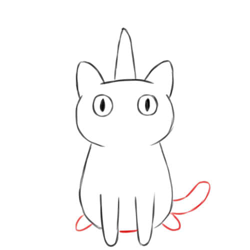 dessin queue du chat