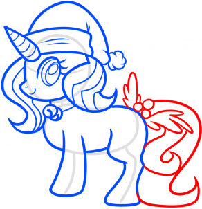 dessin queue licorne de noel