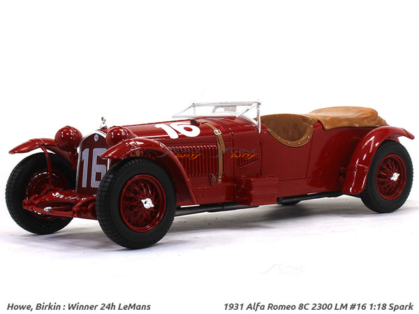 1931 Alfa Romeo 8C 2300 LM #16 Winner La Mans 1:18 Spark scale model car collectible
