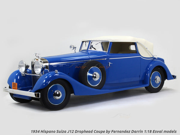 1934 Hispano Suiza J12 Drophead Coupe by Fernandez Darrin closed 1:18 Esval models scale car