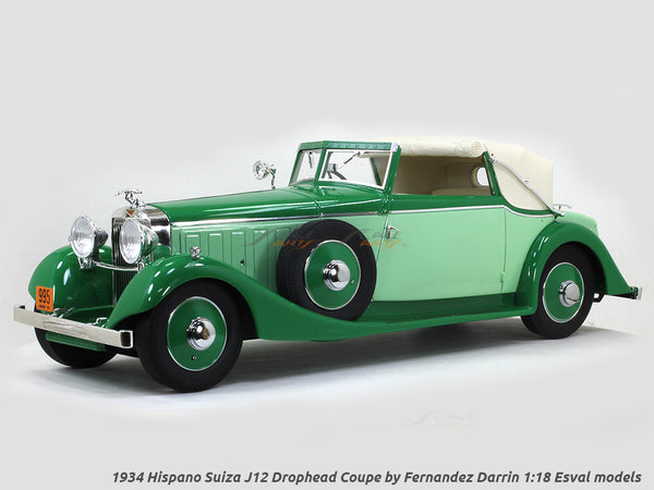 1934 Hispano Suiza J12 Drophead Coupe by Fernandez Darrin open 1:18 Esval models scale car