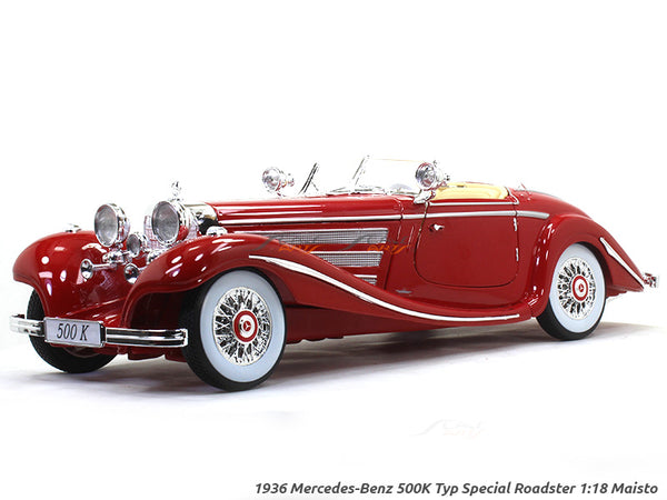 1936 Mercedes-Benz 500K Special Roadster red 1:18 Maisto diecast Scale Model car