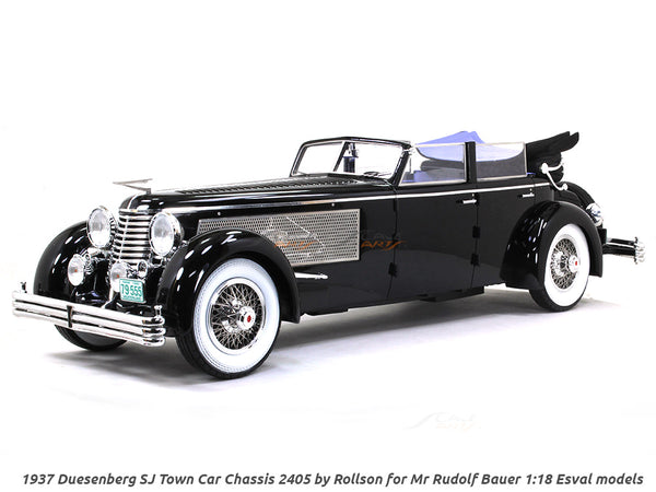 1937 Duesenberg SJ Town Car Chassis 2405 by Rollson for Mr Rudolf Bauer open 1:18 Esval models scale car
