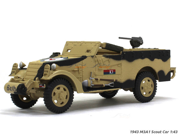 1943 M3A1 Scout Car 1:43 diecast Scale Model military vehicle
