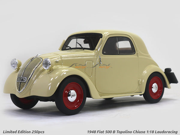 1948 Fiat 500 B Topolino Chiusa beige 1:18 Laudoracing Scale Model car