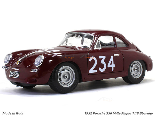 MADE IN ITALY 1952 Porsche 356 Mille Miglia 1:18 Bburago diecast Scale Model car