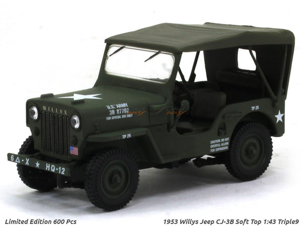 1953 Willys Jeep CJ-3B Soft Top 1:43 Triple9 diecast Scale Model Car